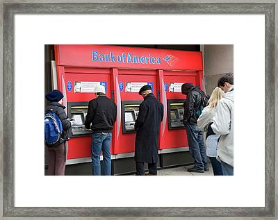 People Using Cash Machines Framed Print by Jim West