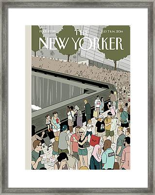 People Visit The 9/11 Memorial Framed Print by Adrian Tomine