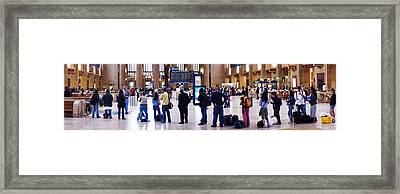 People Waiting In A Railroad Station Framed Print by Panoramic Images