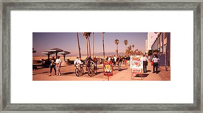 People Walking On The Sidewalk, Venice Framed Print by Panoramic Images