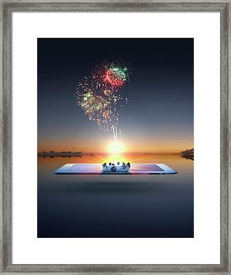 People Watching Fireworks Erupt From Framed Print by Colin Anderson Productions Pty Ltd