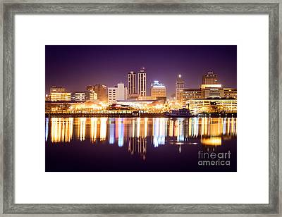 Peoria Illinois At Night Downtown Skyline Framed Print by Paul Velgos