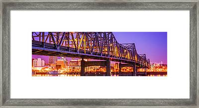 Peoria Illinois Bridge Panoramic Picture Framed Print by Paul Velgos