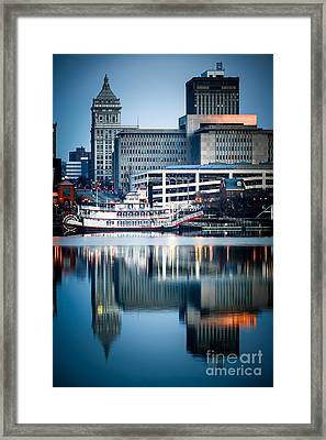 Peoria Illinois Cityscape And Riverboat Framed Print by Paul Velgos