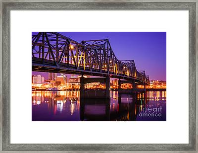 Peoria Illinois Murray Baker Bridge At Night Framed Print by Paul Velgos
