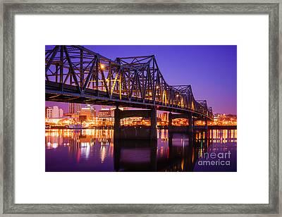 Peoria Illinois Murray Baker Bridge At Night Framed Print