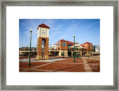 Peoria Illinois Riverfront Businesses And Clock Tower Framed Print by Paul Velgos