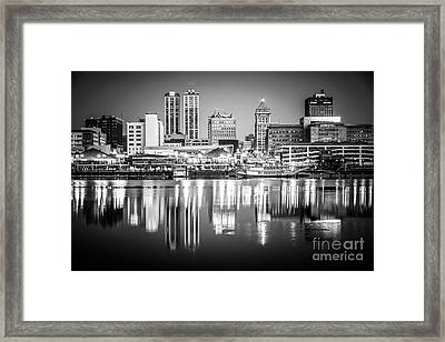 Peoria Illinois Skyline At Night In Black And White Framed Print by Paul Velgos