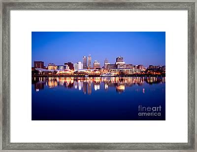 Peoria Illinois Skyline At Night Framed Print by Paul Velgos