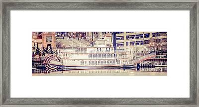 Peoria Riverboat Vintage Panorama Photo Framed Print