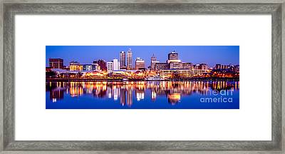 Peoria Skyline At Night Panorama Photo Framed Print by Paul Velgos