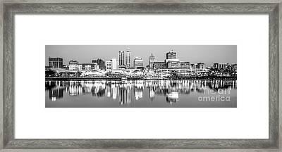 Peoria Skyline Panorama Black And White Photo Framed Print by Paul Velgos