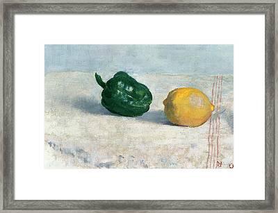 Pepper And Lemon On A White Tablecloth Framed Print