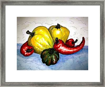 Pepper Diversity Framed Print by Rae Chichilnitsky