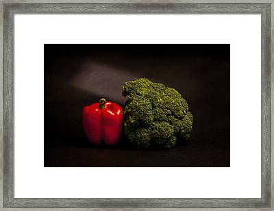 Pepper Nd Brocoli Framed Print