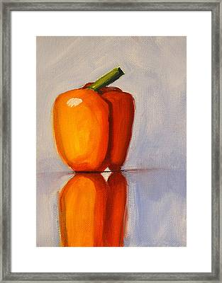 Pepper Reflection Still Life Framed Print by Nancy Merkle