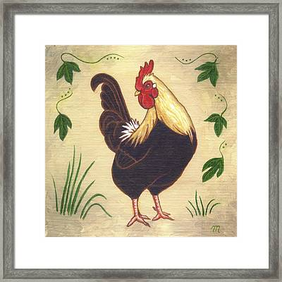 Pepper The Rooster Framed Print by Linda Mears
