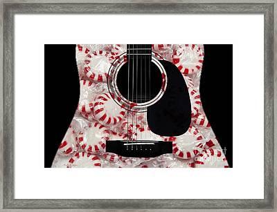 Peppermint Abstract Guitar Framed Print