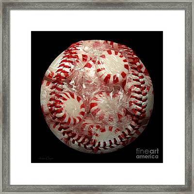Peppermint Candy Baseball Square Framed Print by Andee Design