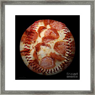 Pepperoni Pizza Baseball Square Framed Print