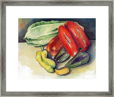 Peppers And Friend Framed Print by Maria Hunt