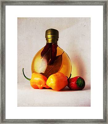 Peppers And Oil Framed Print by Shawna Rowe