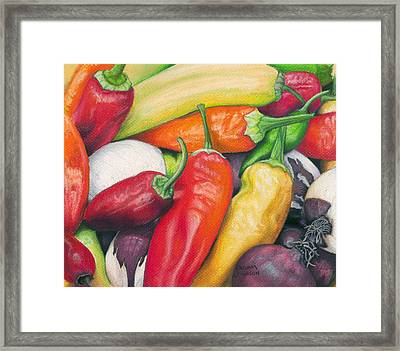 Peppers And Onions Framed Print