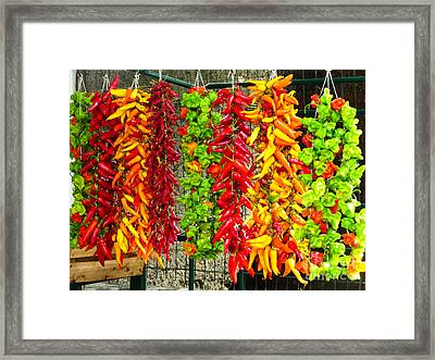 Framed Print featuring the photograph Peppers For Sale by Mike Ste Marie