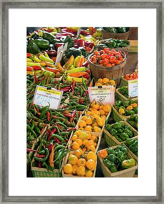 Peppers On A Market Stall Framed Print by Jim West