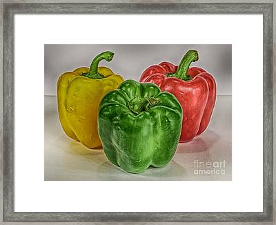 Peppers Together Hdr Framed Print by Mitch Johanson