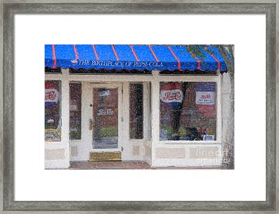 Pepsi Cola Birthplace Watercolor Framed Print