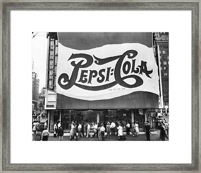 Pepsi Cola Sign Framed Print by MMG Archives