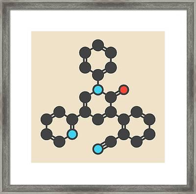 Perampanel Epilepsy Drug Molecule Framed Print by Molekuul