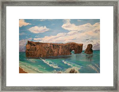 Framed Print featuring the painting Perce Rock by Sharon Duguay