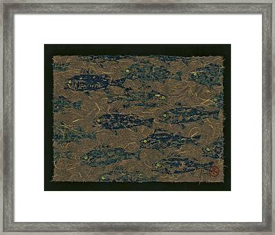 Perch School On Mocha Unryu Paper Framed Print