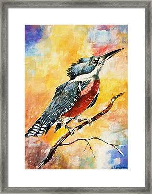 Framed Print featuring the painting Perched Kingfisher by Al Brown