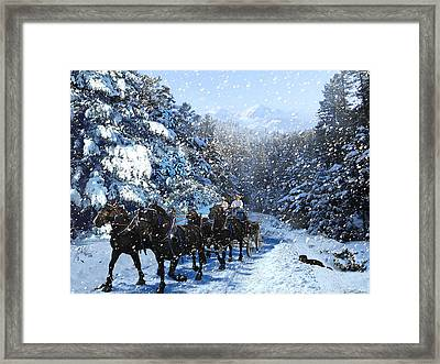 Percheron Team In Snow Framed Print by Ric Soulen