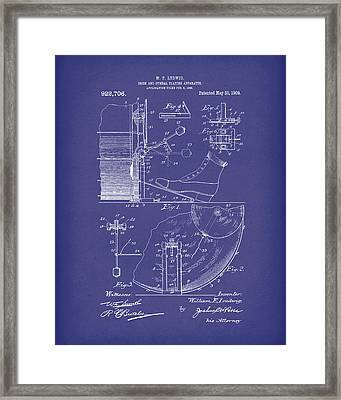 Percussion System 1909 Patent Art Blue Framed Print by Prior Art Design