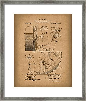 Percussion System 1909 Patent Art Brown Framed Print by Prior Art Design