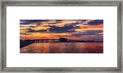 Framed Print featuring the digital art Perdido Bridge Sunrise by Michael Thomas