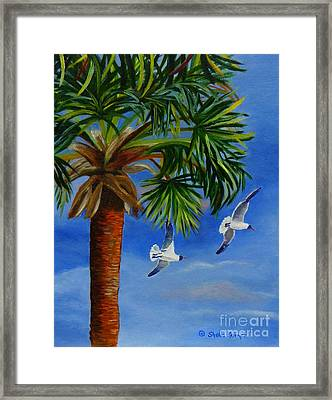 Framed Print featuring the painting Perfect Flight  Palm Tree And Seagulls by Shelia Kempf
