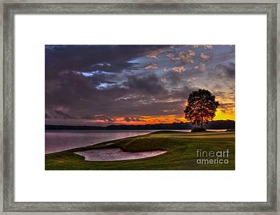 Perfect Golf Sunset In Reynolds Plantation Framed Print by Reid Callaway