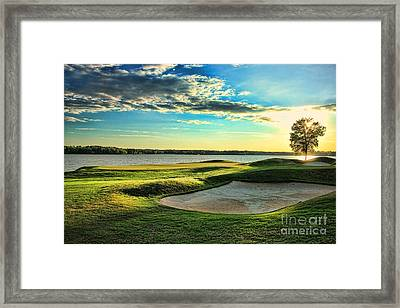Perfect Golf Sunset Framed Print by Reid Callaway