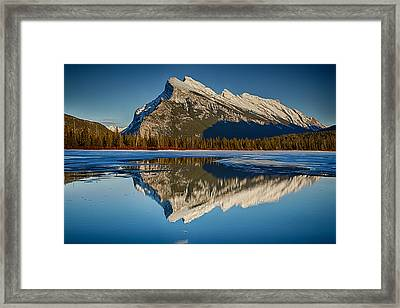 Perfect Reflection Of Rundle Mountain Framed Print