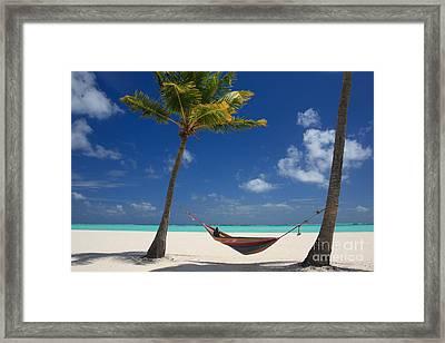 Perfect Tropical Beach Framed Print by Karen Lee Ensley