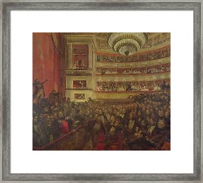 Performance Of Hernani By Victor Hugo Framed Print by Paul Albert Besnard