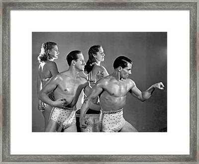 Performing Troupe Strike Pose Framed Print by Underwood Archives