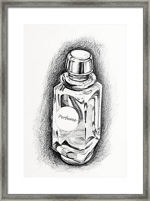 Framed Print featuring the drawing Perfume Bottle by Vizual Studio