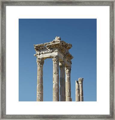 Pergamon Temple Of Trajan Framed Print by David Parker