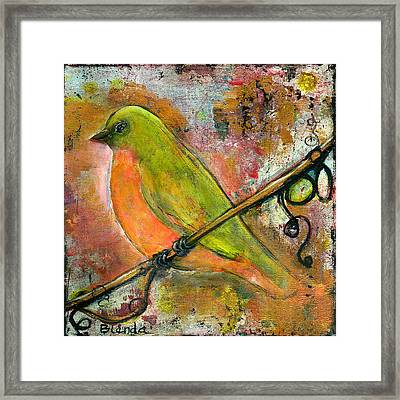 Peridot Bird Framed Print by Blenda Studio